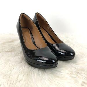 Clarks Black Patent Leather Soft Cushion Heels